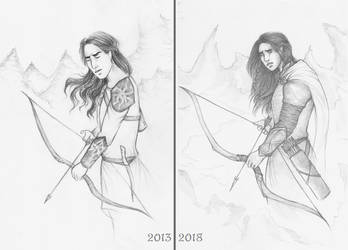 Redraw Comparison: The prayer of Fingon by Annathelle26