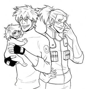 Kame, Kakashi and Iruka