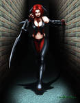 Bloodrayne scratching the wall