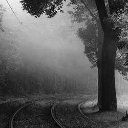 Misty tramway track by RafalBigda