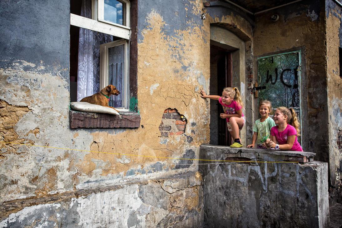 Three girls and a dog by RafalBigda
