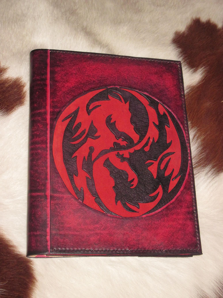 Black Leather Book Cover ~ Double dragon red and black leather book cover by akinra