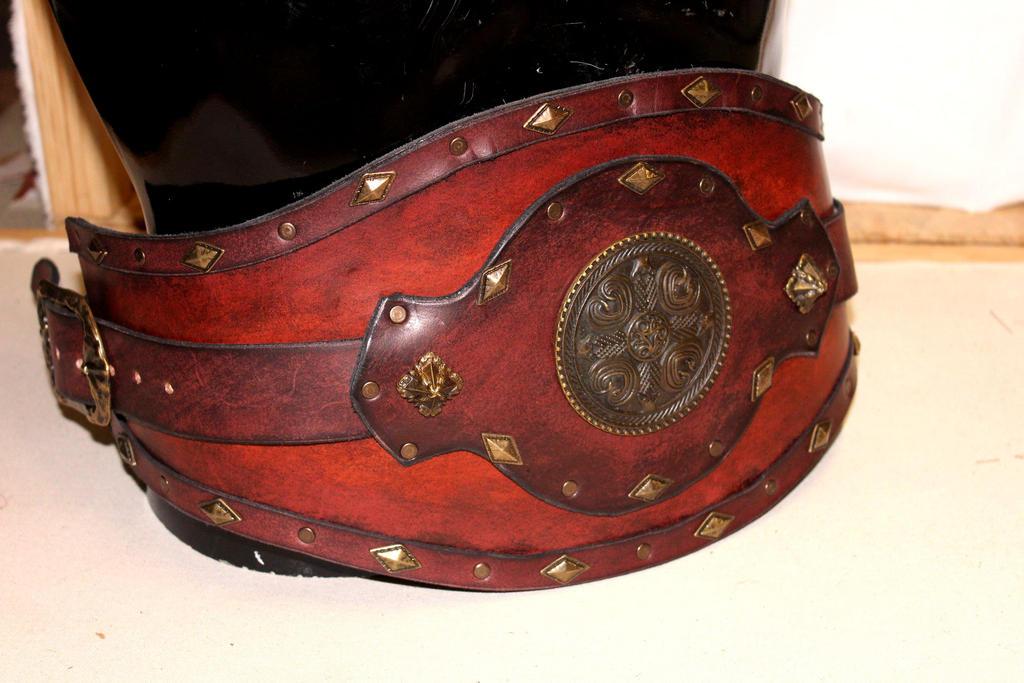 Brown Conan leather war belt by akinra-workshop