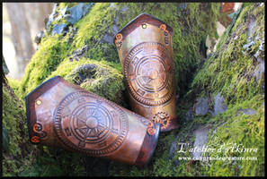 Steampunk copper and leather bracer
