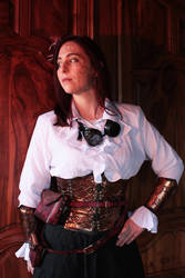 Copper and leather steampunk set
