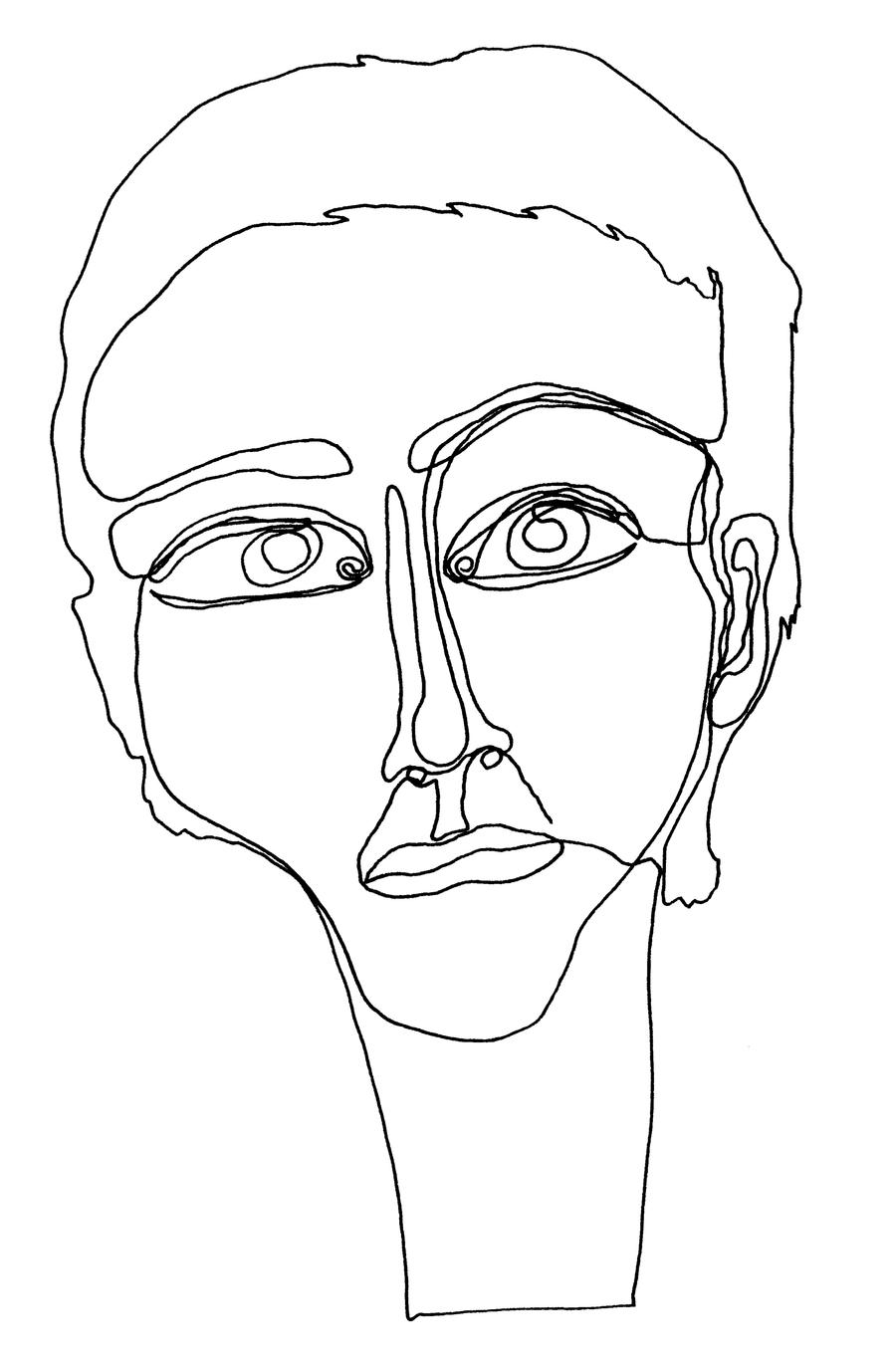 Abstract Face Line Drawing : One line face by marie posa