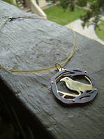 Copper an Brass Raven Necklace by AbandonedMemory
