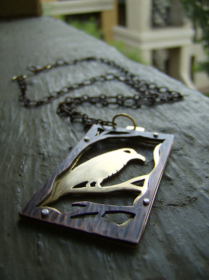 Copper and Brass Raven Necklace 2 by AbandonedMemory