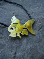 Goldfish Necklace Brass by AbandonedMemory