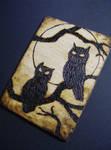 2 Owls in Tree ACEO wood burn