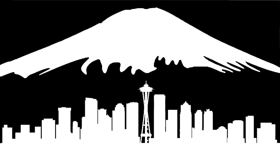 seattle skyline and mount rainier by pandora1206 on deviantart