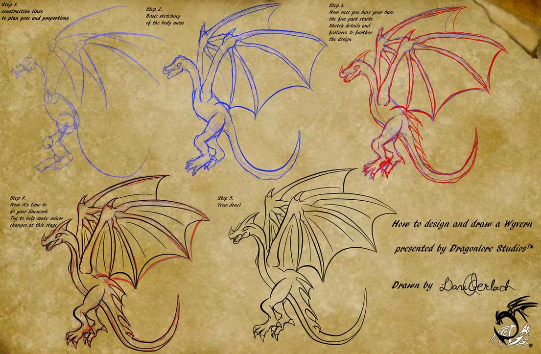 wyvern drawing tutorial by dragonlorestudios on deviantart