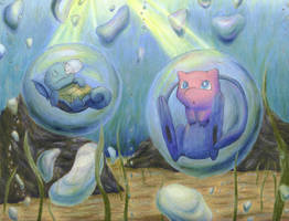 Mew and Squirtle Under the Sea by magnifulouschicken