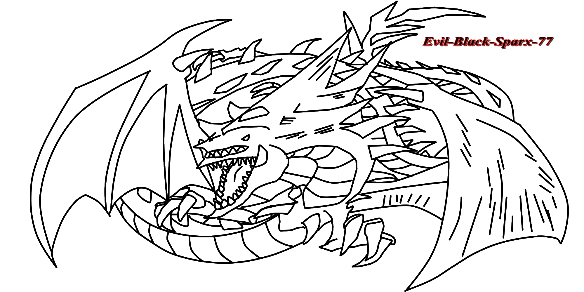 Slifer The Sky Dragon Lineart By Evil Black Sparx 77
