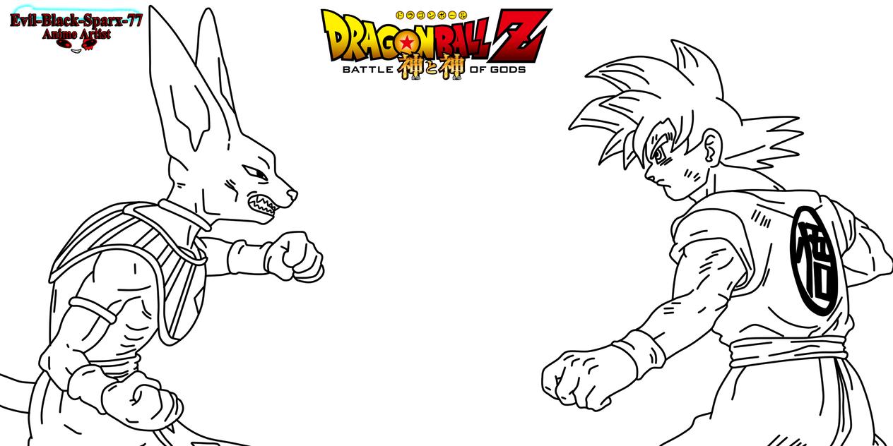 Goku Ssj Dios F Para Colorear Goku Ssj Dios F Para Imprimir: Bills Vs Super Sayian God Goku .:lineart 101:. By Evil