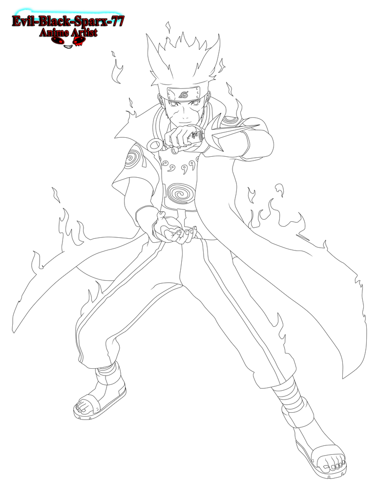 Minato's Nine Tails chakra mode lineart by Evil-Black ...