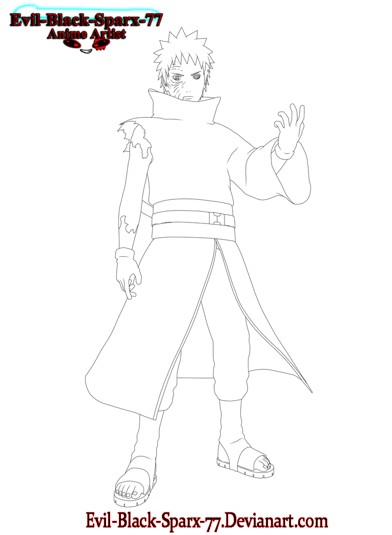 Obito Uchiha full body lineart by Evil-Black-Sparx-77