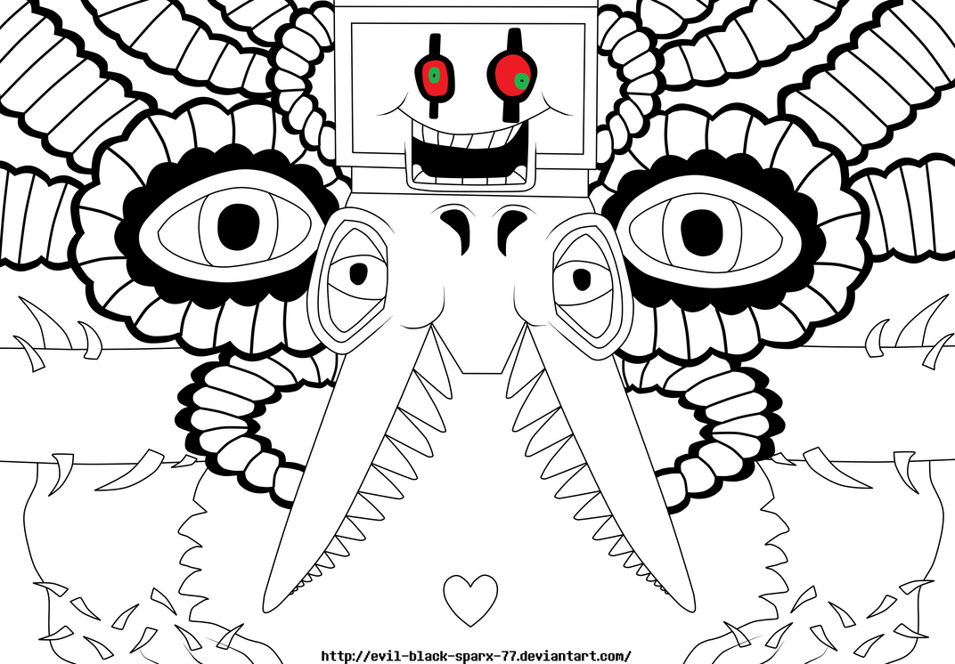 Coloring pages undertale - Undertale Omega Flowey Lineart W Background By Evil Black To Final Picture
