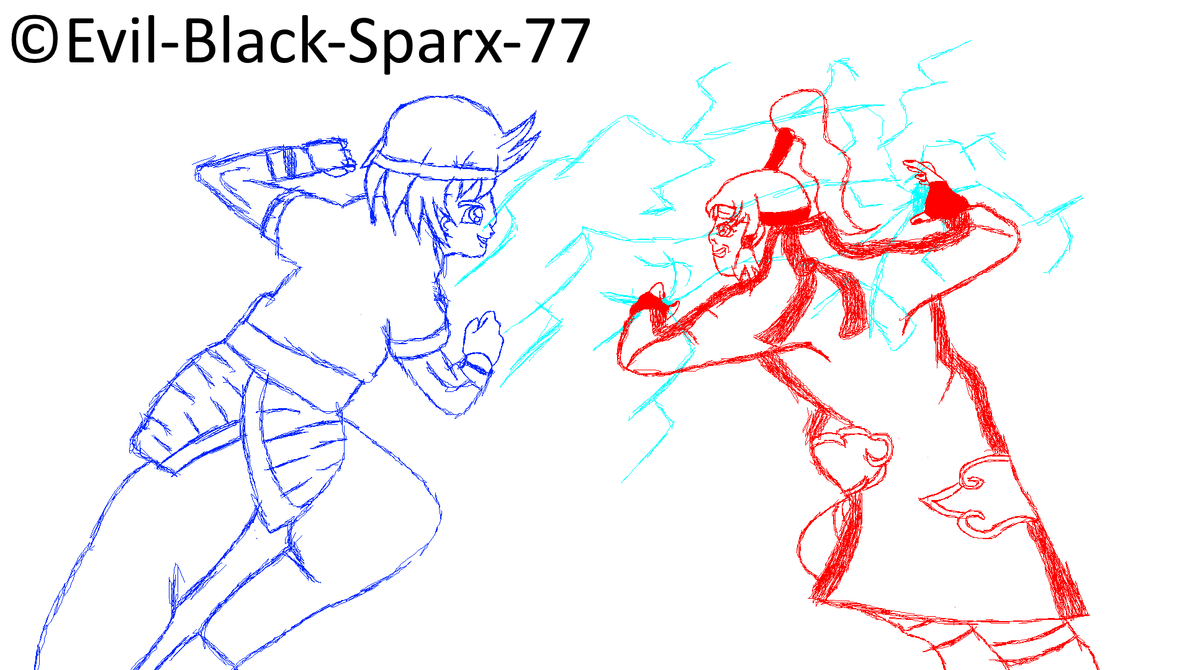 Sketch Lilly Uchiha vs Anyan wip by Evil-Black-Sparx-77