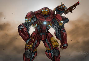 Iron-Man in Hulkbuster armor and Rocket artwork by sajol201460