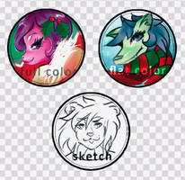 OPEN BUTTONS COMMISSIONS EXAMPLES by Shiro-Shimizu