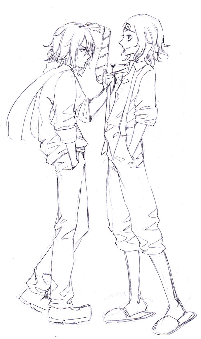 Tokyo Ghoul Hinami X Ayato Sketch Coloring Page