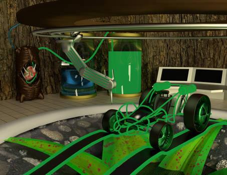 Dart frog car garage