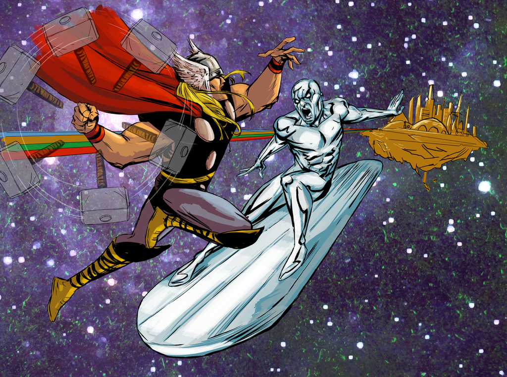 Thor VS Silver Surfer by greenestreet