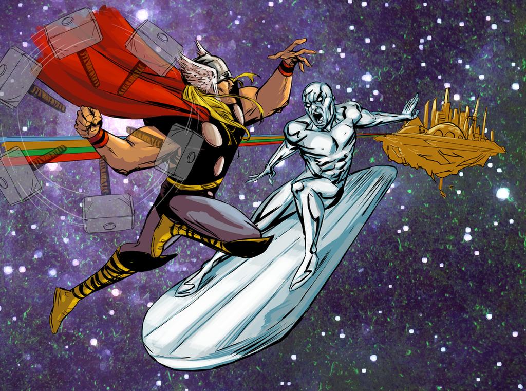 Thor VS Silver Surfer by greenestreet