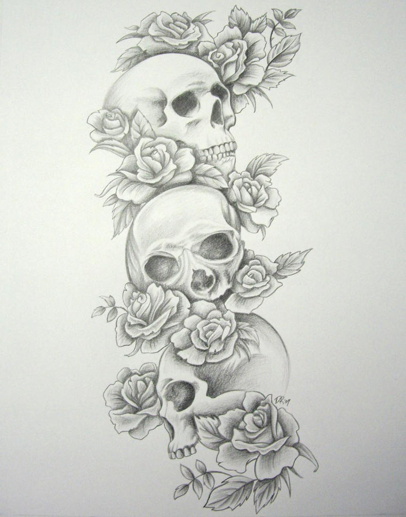 Skull Roses Sleeve by DanielleHope