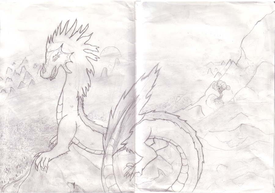 Dragon pencil drawing by LiitTutubi