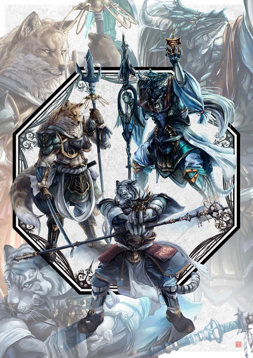 (Incomplete) Four anthro generals by kazashino