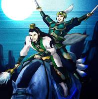 Zhuge Liang and Liu Bei by tekoyo