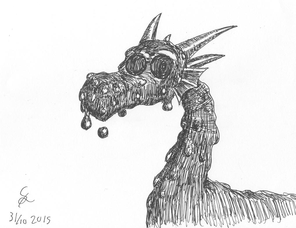 INKTOBER: ink dragon by shook12