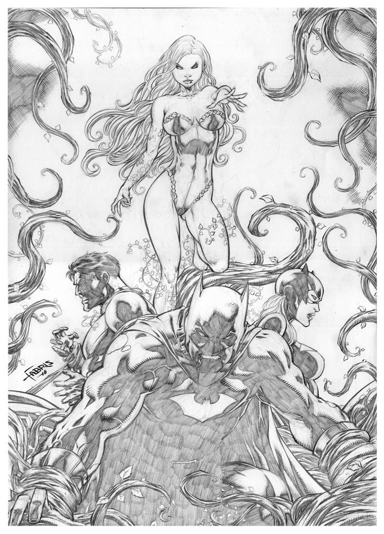 Batman, Nightwing and Batgirl vs poison Ivy by Fabiano-Ribeiro