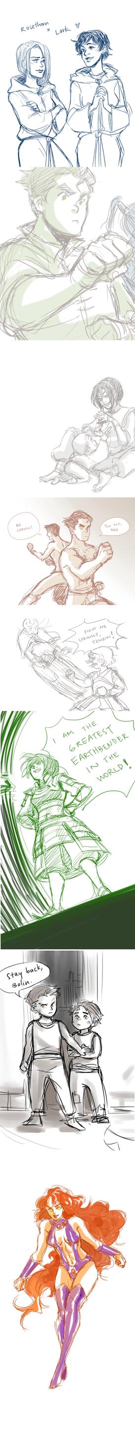 sketch dump: TP+Korra+DC by Minuiko