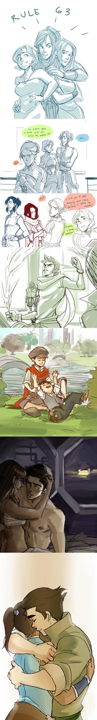 Korra: sketch dump 3 by Minuiko
