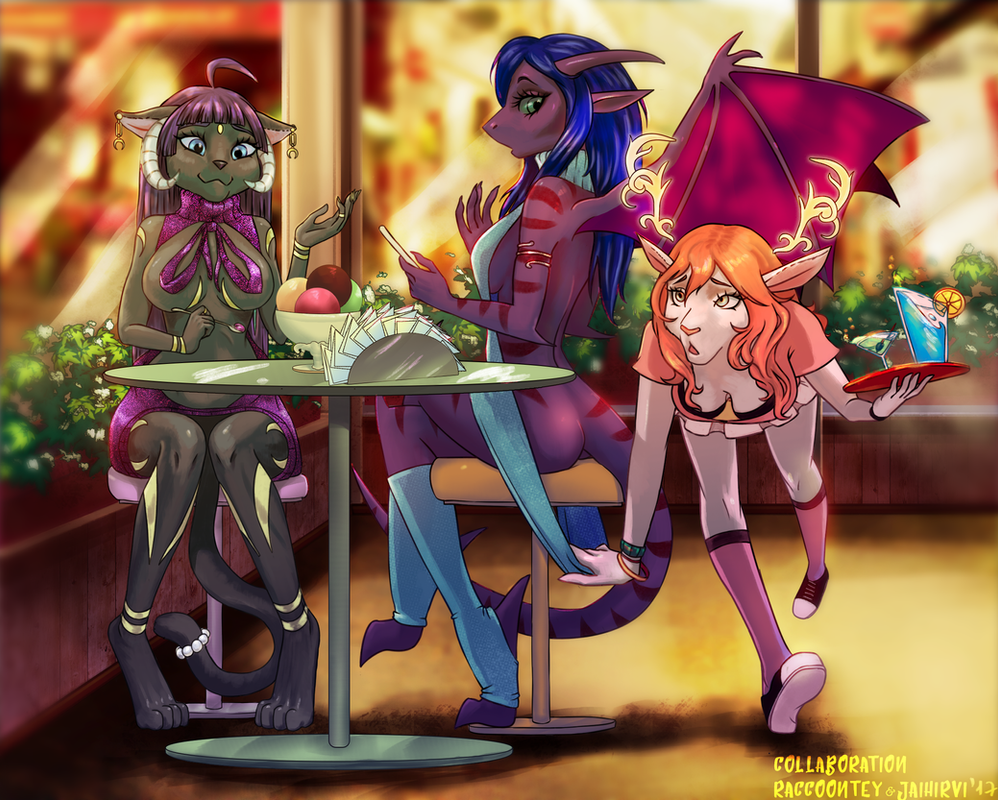 Confusion at the diner [YCH collab] by JaiZub