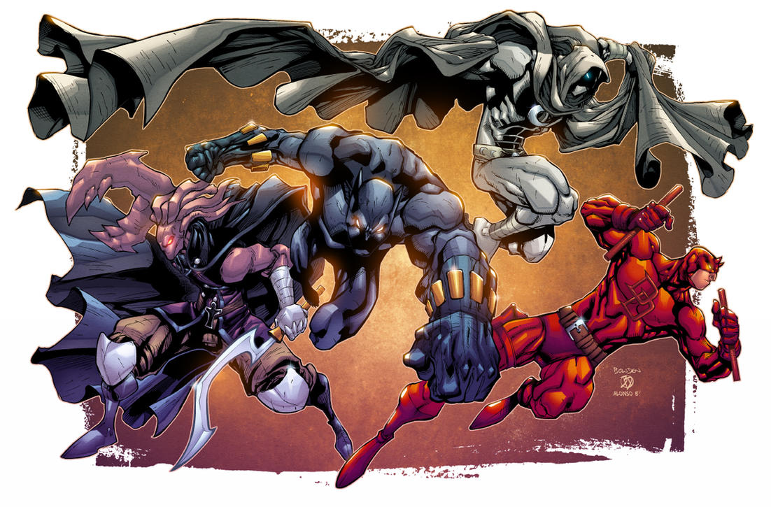 Black Panther, Moon Knight, Daredevil, The Glyph by mikebowden