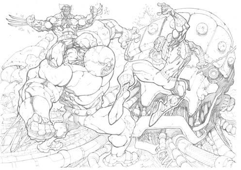 Juggernaut VS Spidey and Wolverine