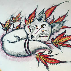 Kitsune on some japanese maple by Jared393