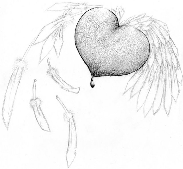 Easy Drawings Of Broken Hearts With Wings