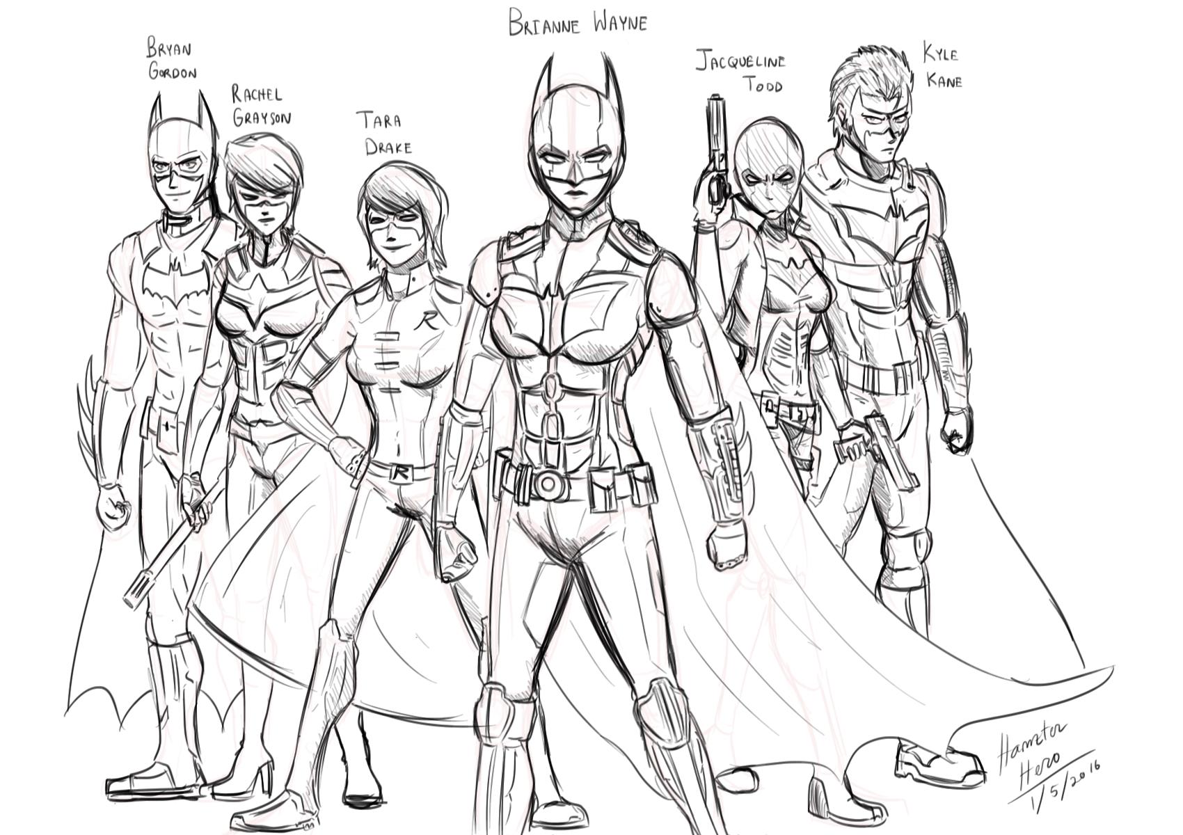 Genderswap Batfamily sketch by HamzterHero on DeviantArt