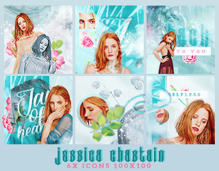 6x Jessica Chastains icons pack by Gorgeousmali