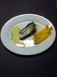 sardines fish with alive oil and yellow  bellpeppe