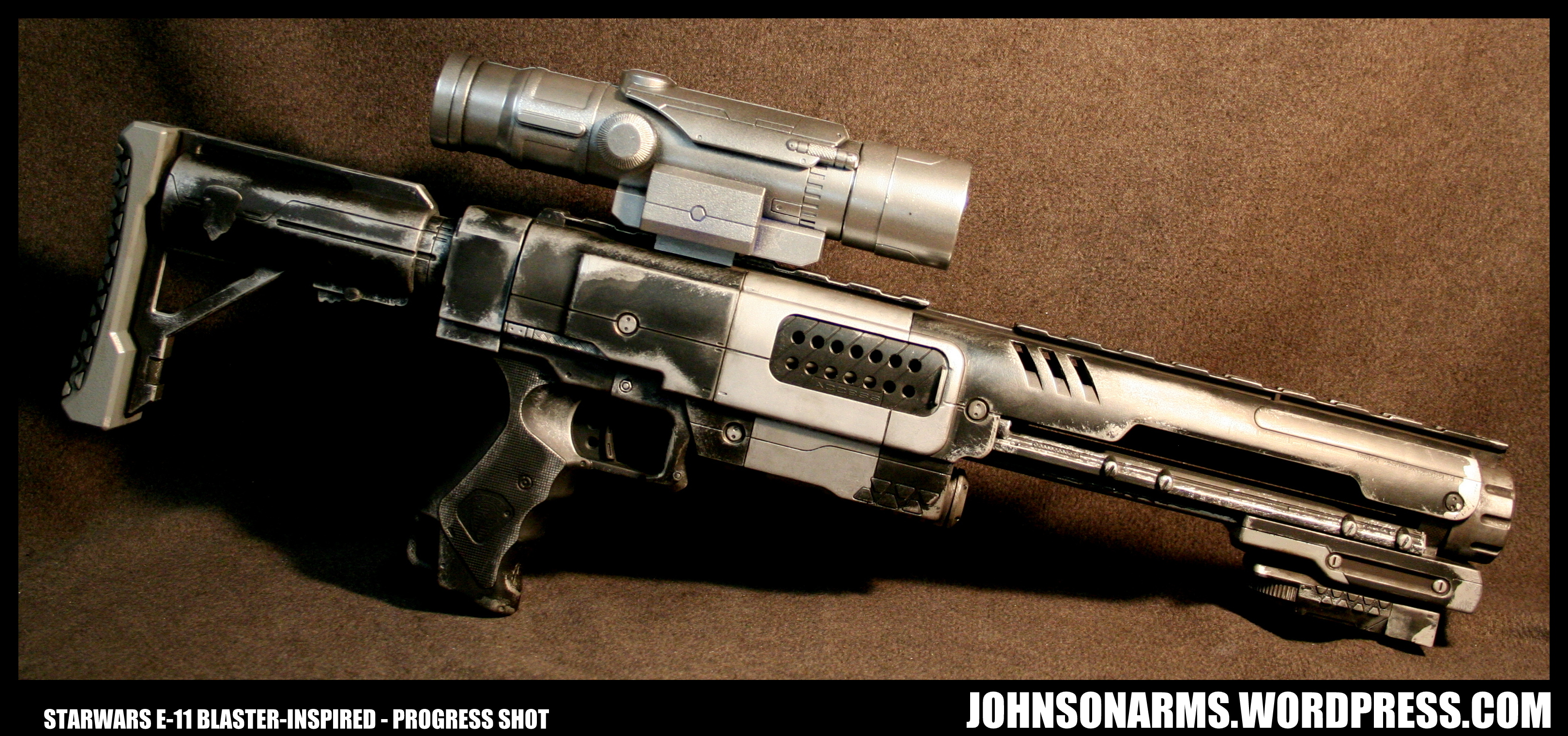 Stormtrooper E-11 Inspired Nerf Raider Progress by JohnsonArms