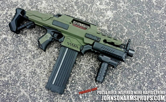 Pulse Rifle-inspired Nerf Rapidstrike Progress
