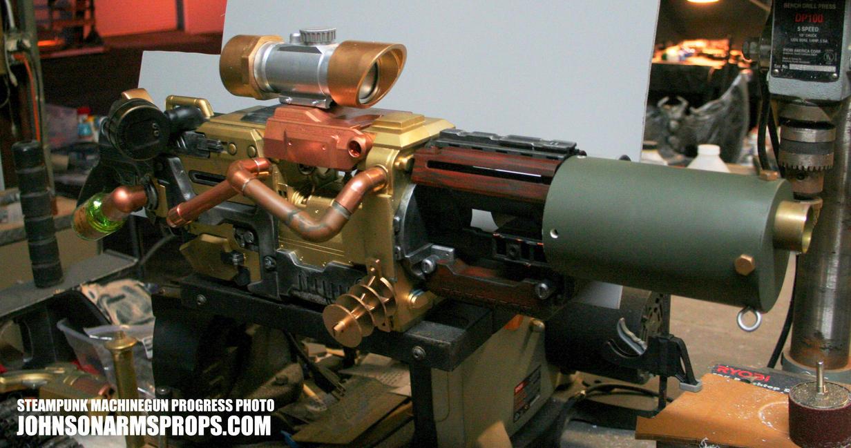 Steampunk Machine Gun Progress by JohnsonArmsProps