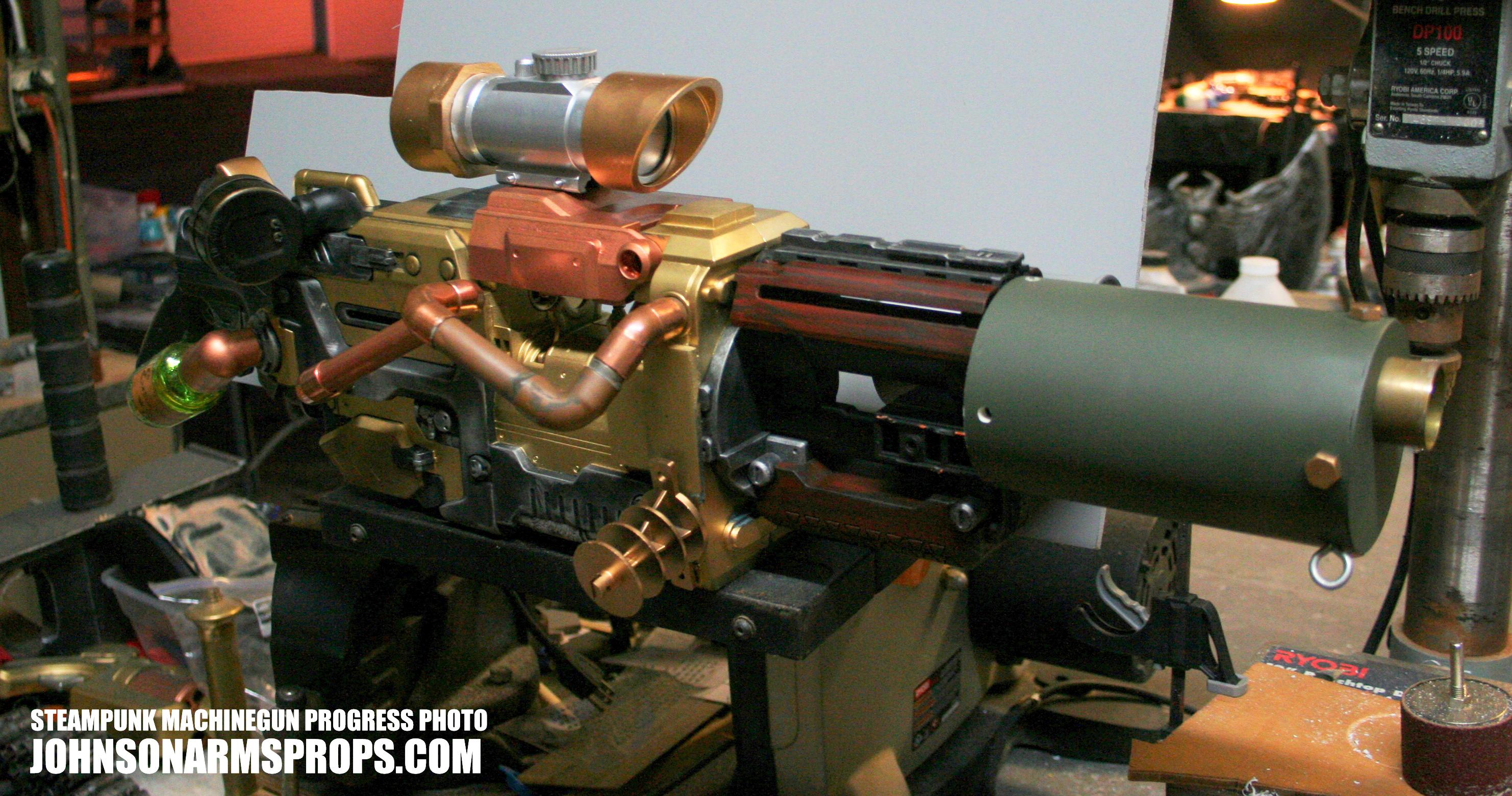 Steampunk Machine Gun Progress by JohnsonArms