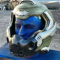 DOOM Guy 2016 Replica Helmet Progress by JohnsonArmsProps